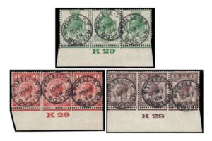 1929 PUC K29 control strips with FDI cds for 10 May 1929 - superb