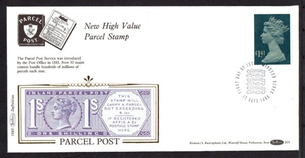 17-9-1985 New High Value Parcel Stamp FDC