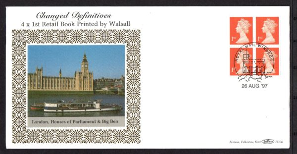26-8-1997 Changed Definitives NVI 4x 1st Retail booklet FDC