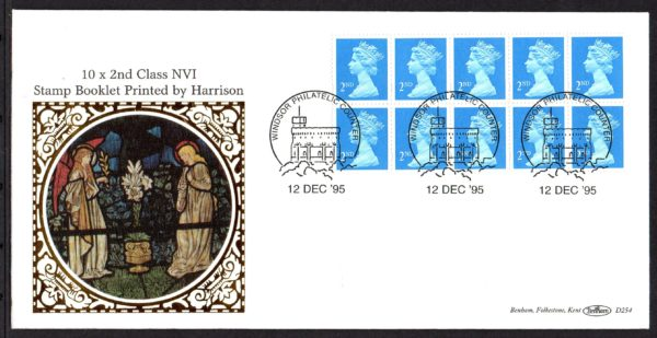 12-12-1995 NVI 10x 2nd booklet pane FDC