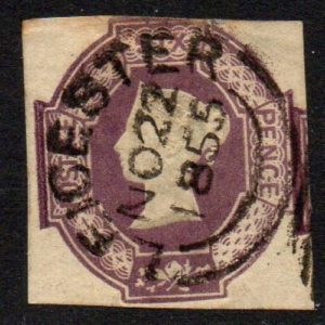QV sg59 6d lilac (deep shade) with fine LEICESTER NO 1855 cancel
