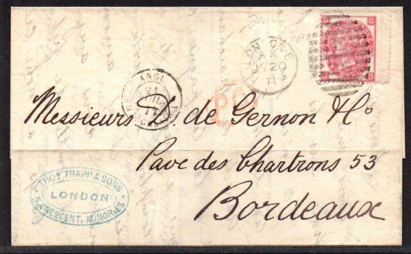 QV sg103 3d rose (G-D) plate 6 on 1871 London to Bordeaux entire