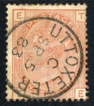 QV sg163 1s orange-brown (T-E) plate 13 with fine 1883 Uttoxeter cds