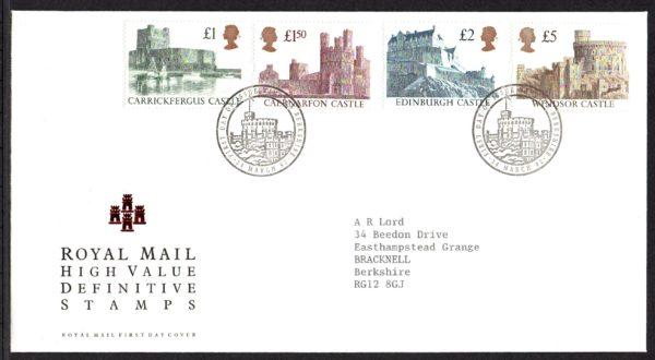24-Mar-1992 High Value Definitive Castles FDC