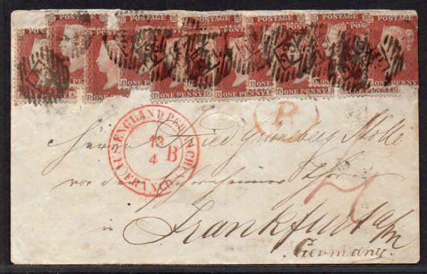 QV 1855 cover to Frankfurt Germany