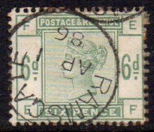 QV sg194 6d dull green (E-F) with fine 1886 Ramsgate cds