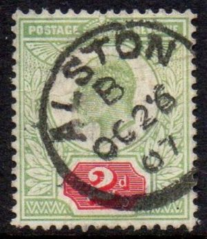 KEVII sg225 2d yellow/green & carmine-red with fine 1907 Alston cds