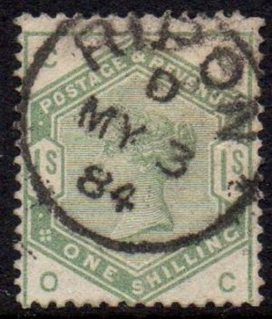 QV sg196 1/- dull green with fine 1884 Ripon cds