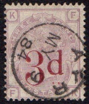 QV sg159 3d on 3d lilac with fine 1884 Ayr cds