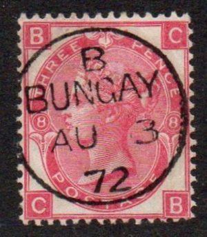 QV sg103 3d rose (C-B) plate 8 with superb 1872 Bungay cds