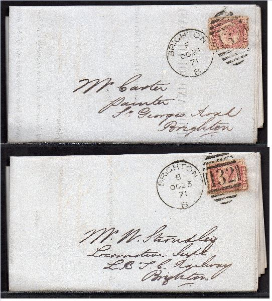 QV sg49 ½d rose (x2) on 1871 'turned cover' to Brighton