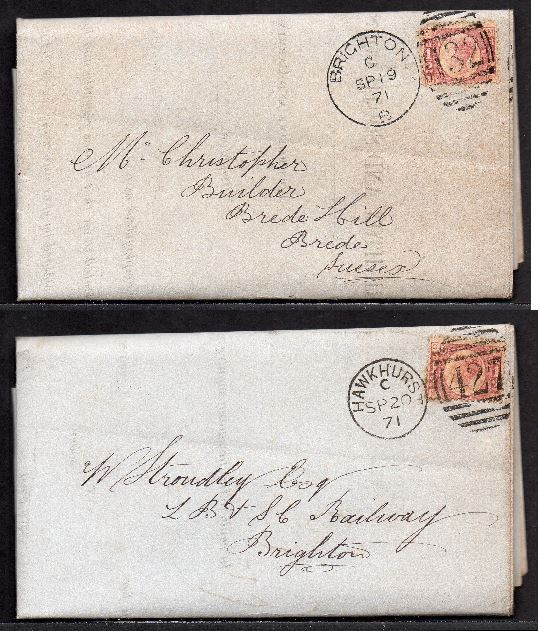 QV sg49 ½d rose (x2) on 1871 Hawkhurst to Brighton 'turned cover'