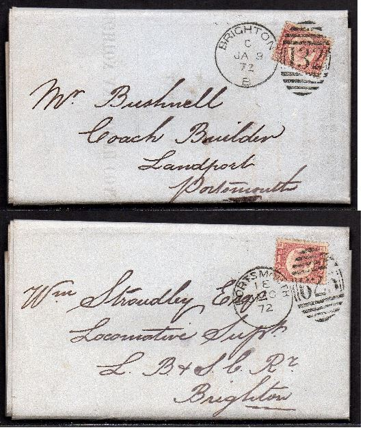 QV sg49 ½d rose (x2) on 1872 Portsmouth to Brighton 'turned cover'