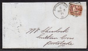 QV sg49 ½d rose (A-M) plate 3 on 1871 Brighton to Portslade cover
