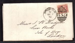 QV sg49 ½d rose (A-N) plate 3 on 1872 Brighton to London cover