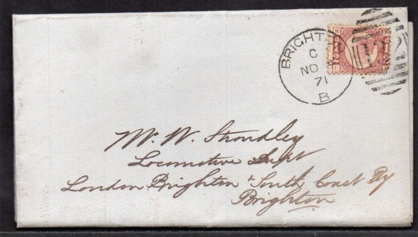 QV sg49 ½d rose (I-N) plate 3 on 1871 cover to Brighton