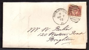 QV sg49 ½d rose (B-P) plate 3 on 1872 cover to Brighton