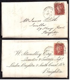 QV sg43 1d red (x2) on 1872 'turned cover' to Brighton
