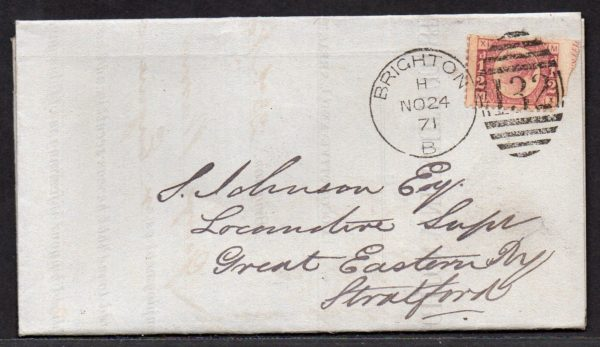 QV sg49 ½d rose (M-X) plate 4 on 1871 Brighton to Stratford cover