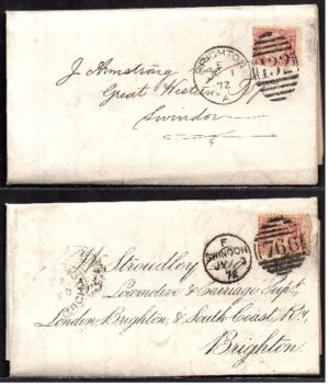 QV sg49 ½d rose (x2) on 1872 Swindon to Brighton 'turned cover'