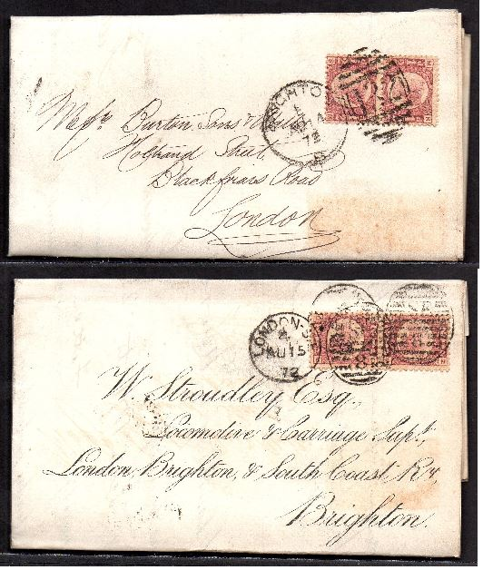 QV sg49 ½d rose (x4) on 1872 London to Brighton 'turned cover'