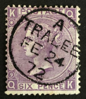 QV sg109 6d mauve (Q-K) Plate 9 with fine 1872 Tralee cds