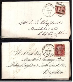 QV sg49 & sg43 on 1872 Cliftonville to Brighton 'turned cover'