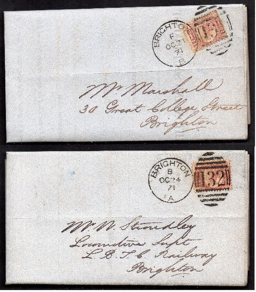 QV sg49 ½d rose (x2) on 1871 London to Brighton 'turned cover'
