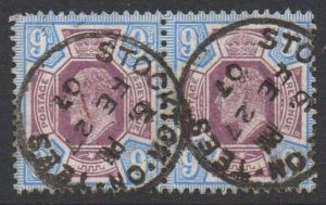KEVII sg250a 9d pair with fine 1907 Stockton-on-Tees cds