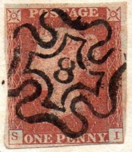 QV 1d red (S-I) Plate 34 with London No.8 in Maltese Cross to Isle of Wight