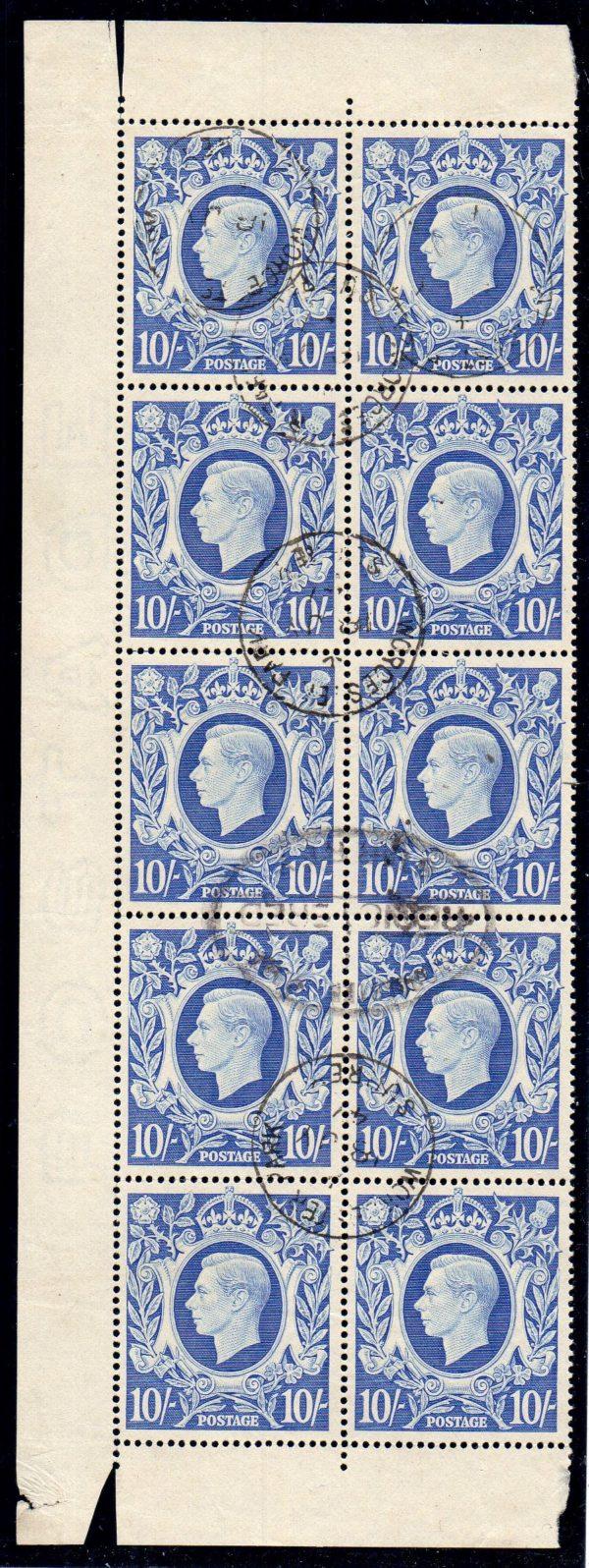 KGVI sg478b 10s ultramarine block fine used 1947 Worcester Park cds