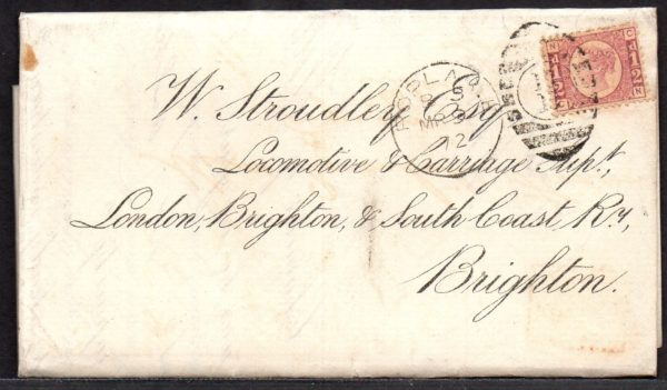 QV sg49 ½d rose (C-N) plate 3 on 1871 cover to Brighton