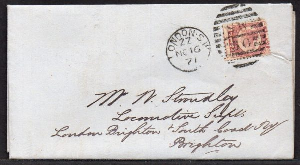 QV sg49 ½d rose (L-R) plate 4 on 1871 cover to Brighton