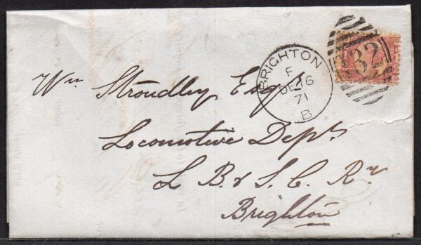 QV sg49 ½d rose (Q-Q) plate 4 on 1871 cover to Brighton