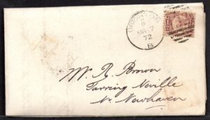 QV sg49 ½d rose (A-Q) plate 3 on 1871 cover to Newhaven