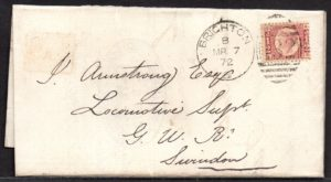 QV sg49 ½d rose (A-S) plate 3 on 1872 Brighton to Swindon cover