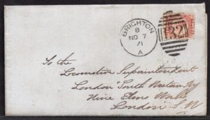QV sg49 ½d rose (D-O) plate 3 on 1871 Brighton to London cover