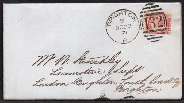 QV sg49 ½d rose (T-M) plate 4 on 1871 cover to Brighton