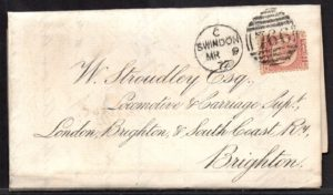 QV sg49 ½d rose (B-S) plate 3 on 1872 Swindon to Brighton cover