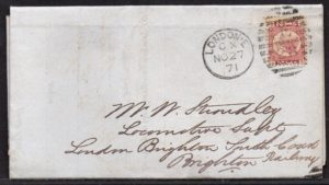 QV sg49 ½d rose (M-V) plate 4 on 1871 London to Brighton cover