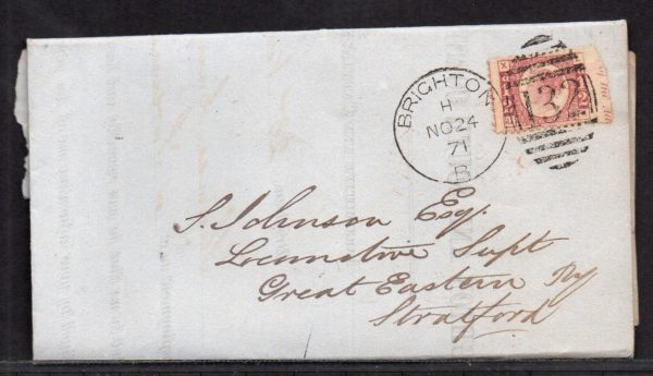 QV sg49 ½d rose (L-X) plate 4 on 1871 Brighton to Stratford cover