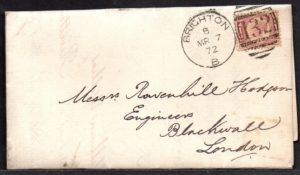 QV sg49 ½d rose (C-M) plate 3 on 1872 Brighton to London cover