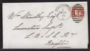 QV sg49 ½d rose (N-R) plate 4 on 1871 cover to Brighton