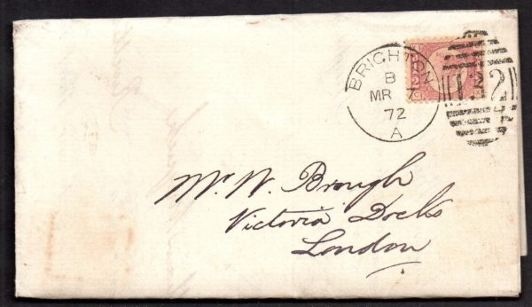 QV sg49 ½d rose (C-X) plate 3 on 1871 Brighton to London cover